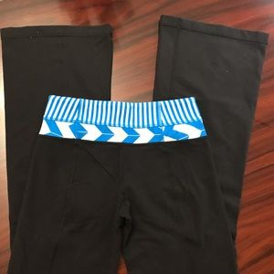 Lululemon Black, Blue & White Flare Stretch Pants